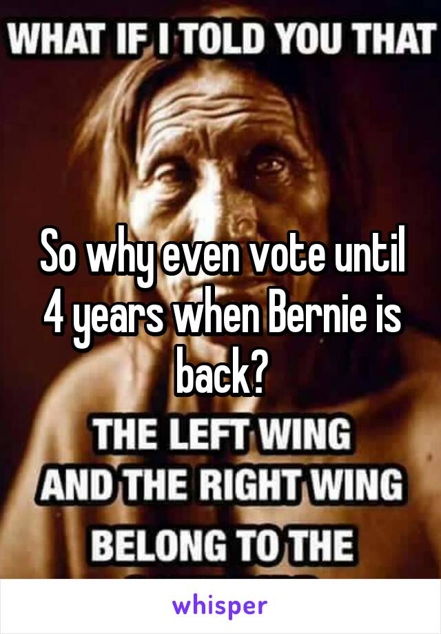 So why even vote until 4 years when Bernie is back?