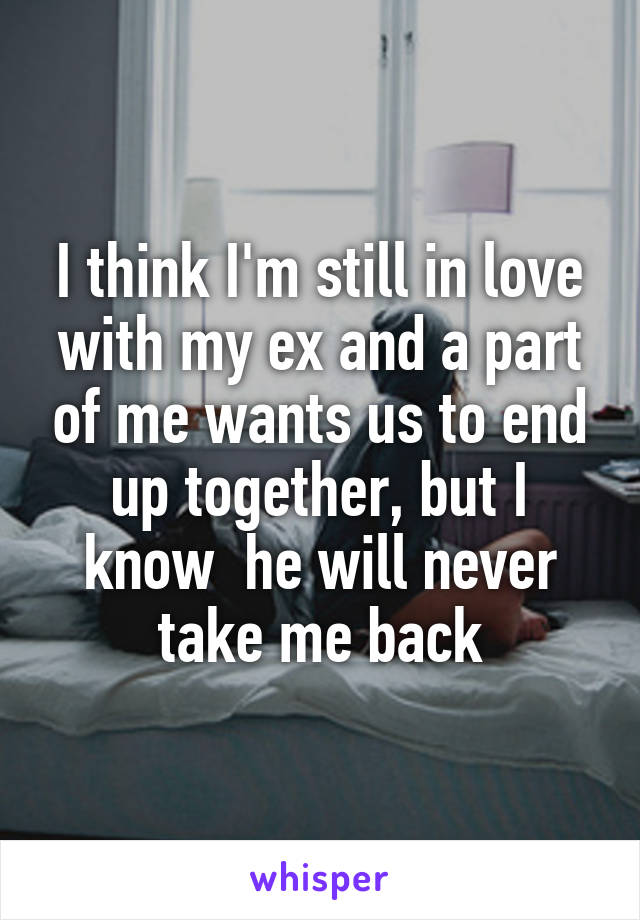 I think I'm still in love with my ex and a part of me wants us to end up together, but I know  he will never take me back