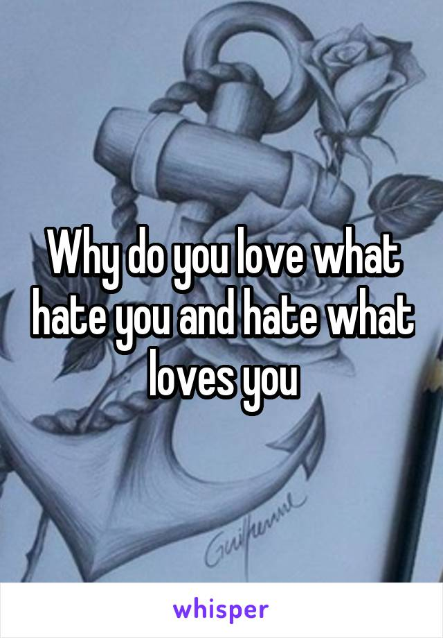Why do you love what hate you and hate what loves you