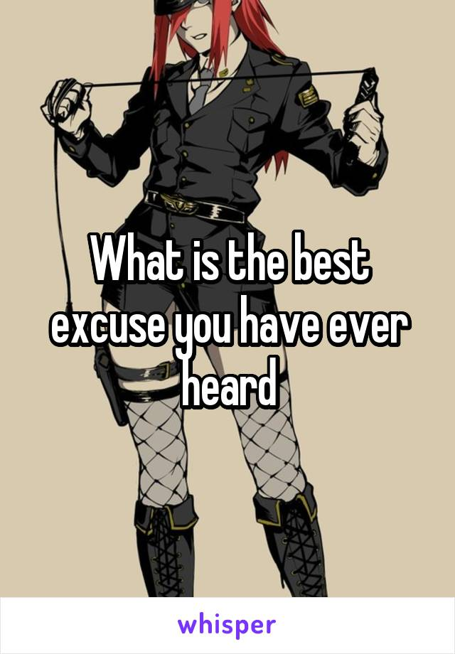 What is the best excuse you have ever heard