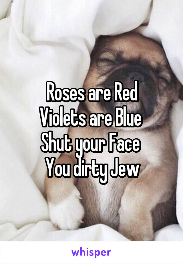 Roses are Red Violets are Blue  Shut your Face  You dirty Jew