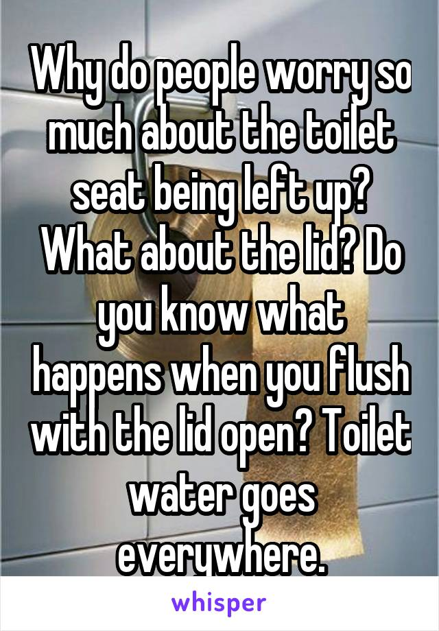 Why do people worry so much about the toilet seat being left up? What about the lid? Do you know what happens when you flush with the lid open? Toilet water goes everywhere.