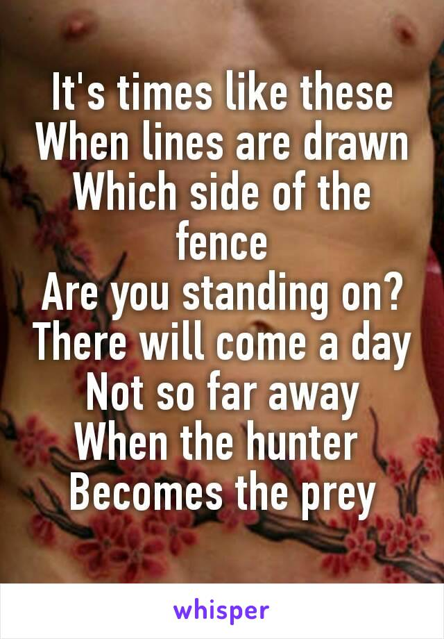 It's times like these When lines are drawn Which side of the fence Are you standing on? There will come a day Not so far away When the hunter  Becomes the prey