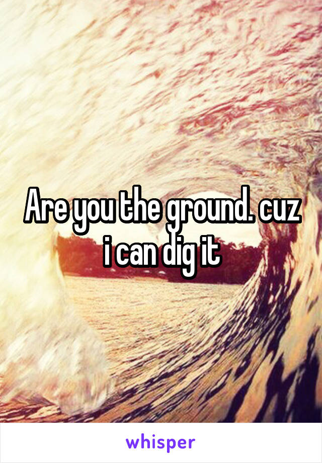 Are you the ground. cuz i can dig it