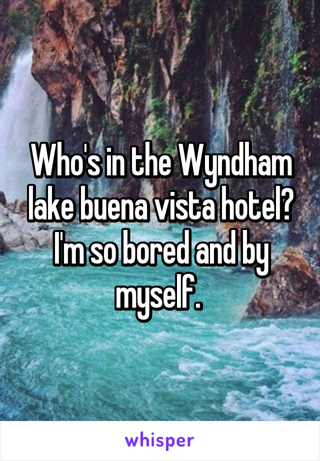 Who's in the Wyndham lake buena vista hotel? I'm so bored and by myself.