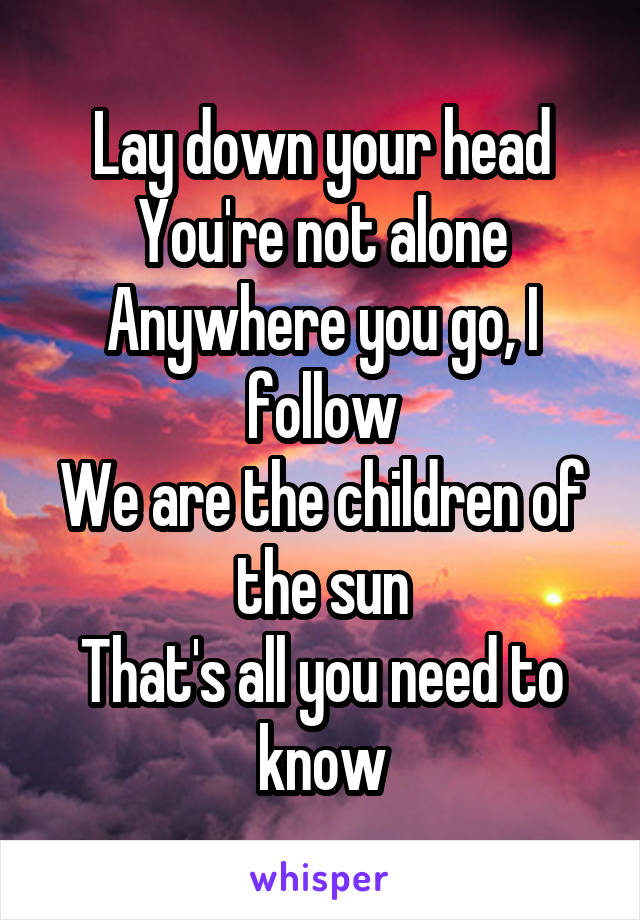 Lay down your head You're not alone Anywhere you go, I follow We are the children of the sun That's all you need to know