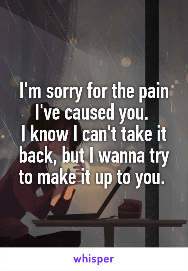 I'm sorry for the pain I've caused you.  I know I can't take it back, but I wanna try to make it up to you.