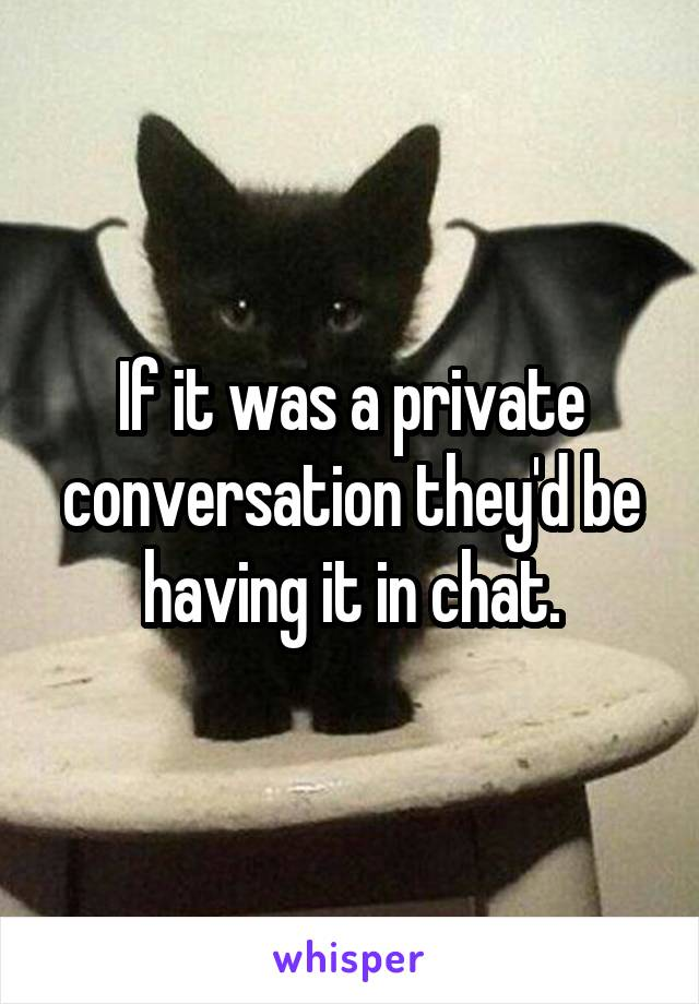 If it was a private conversation they'd be having it in chat.