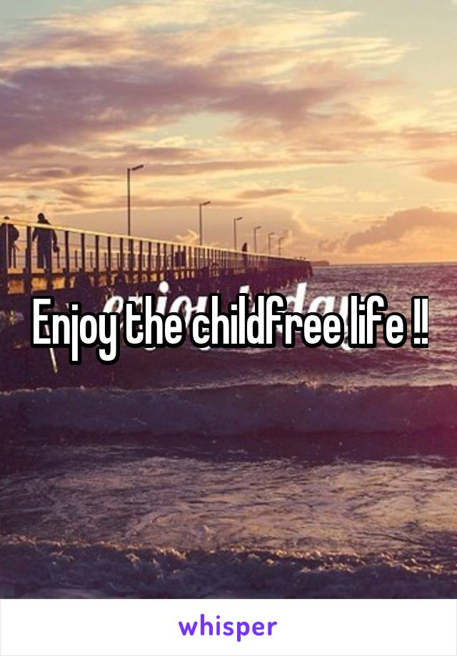 Enjoy the childfree life !!
