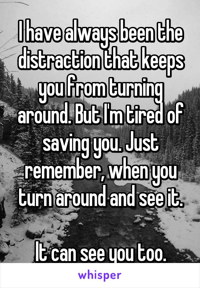 I have always been the distraction that keeps you from turning around. But I'm tired of saving you. Just remember, when you turn around and see it.  It can see you too.