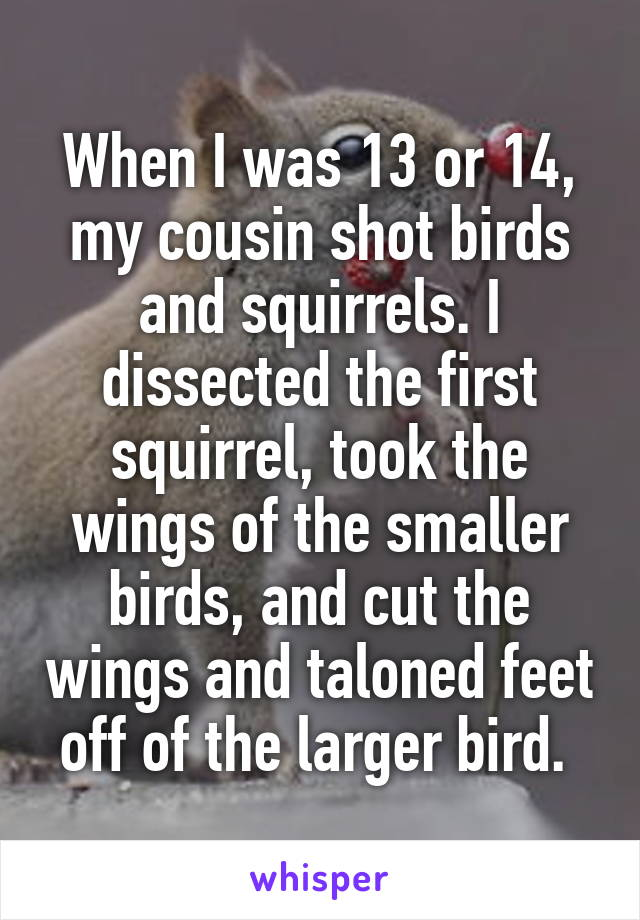 When I was 13 or 14, my cousin shot birds and squirrels. I dissected the first squirrel, took the wings of the smaller birds, and cut the wings and taloned feet off of the larger bird.