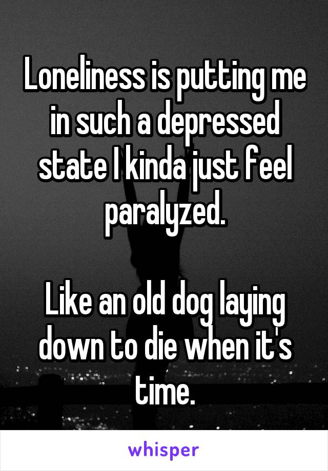 Loneliness is putting me in such a depressed state I kinda just feel paralyzed.  Like an old dog laying down to die when it's time.