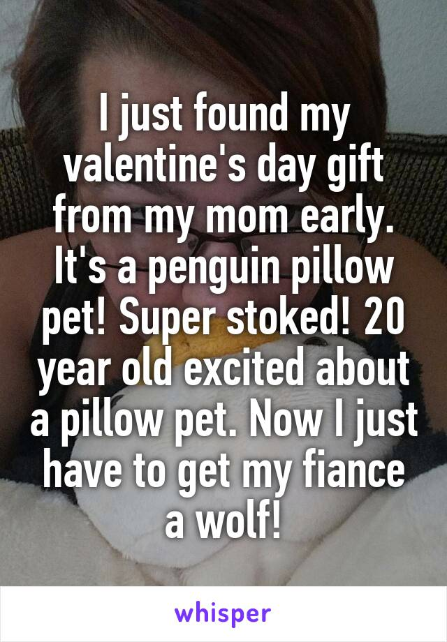 I just found my valentine's day gift from my mom early. It's a penguin pillow pet! Super stoked! 20 year old excited about a pillow pet. Now I just have to get my fiance a wolf!