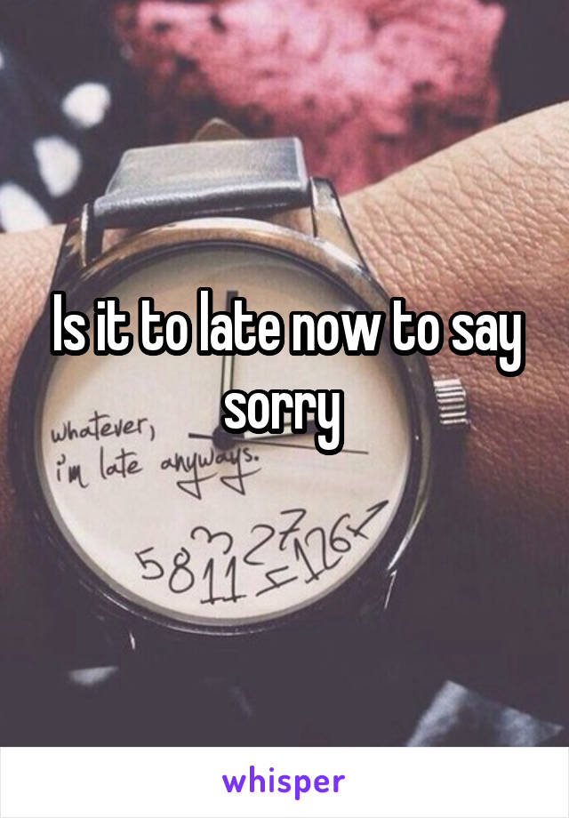 Is it to late now to say sorry