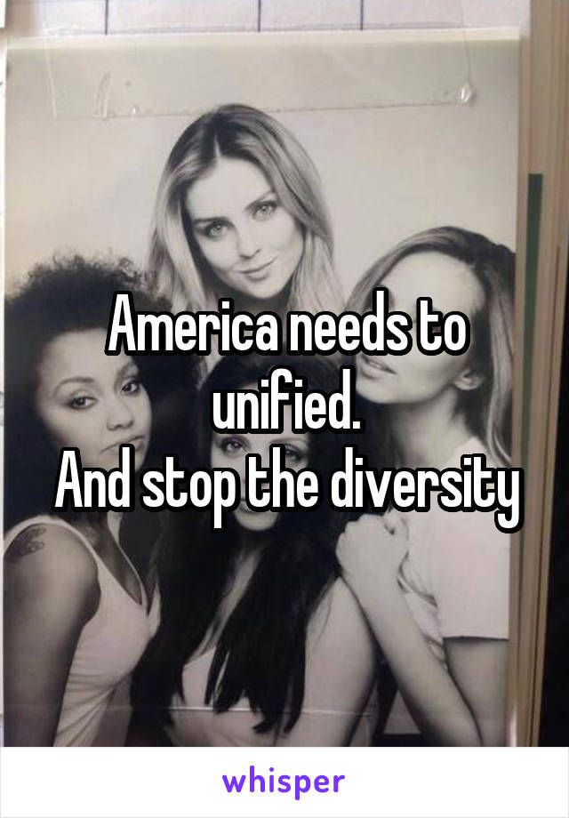 America needs to unified. And stop the diversity
