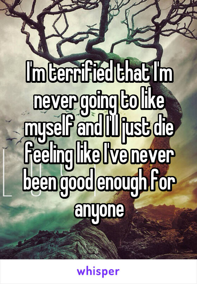 I'm terrified that I'm never going to like myself and I'll just die feeling like I've never been good enough for anyone