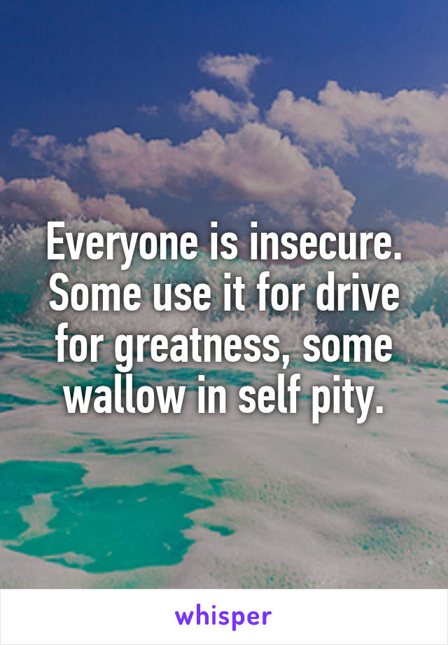 Everyone is insecure. Some use it for drive for greatness, some wallow in self pity.