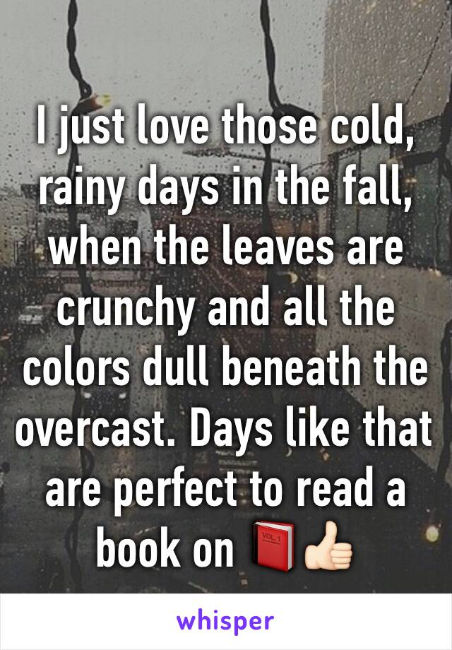 I just love those cold, rainy days in the fall, when the leaves are crunchy and all the colors dull beneath the overcast. Days like that are perfect to read a book on 📕👍🏻