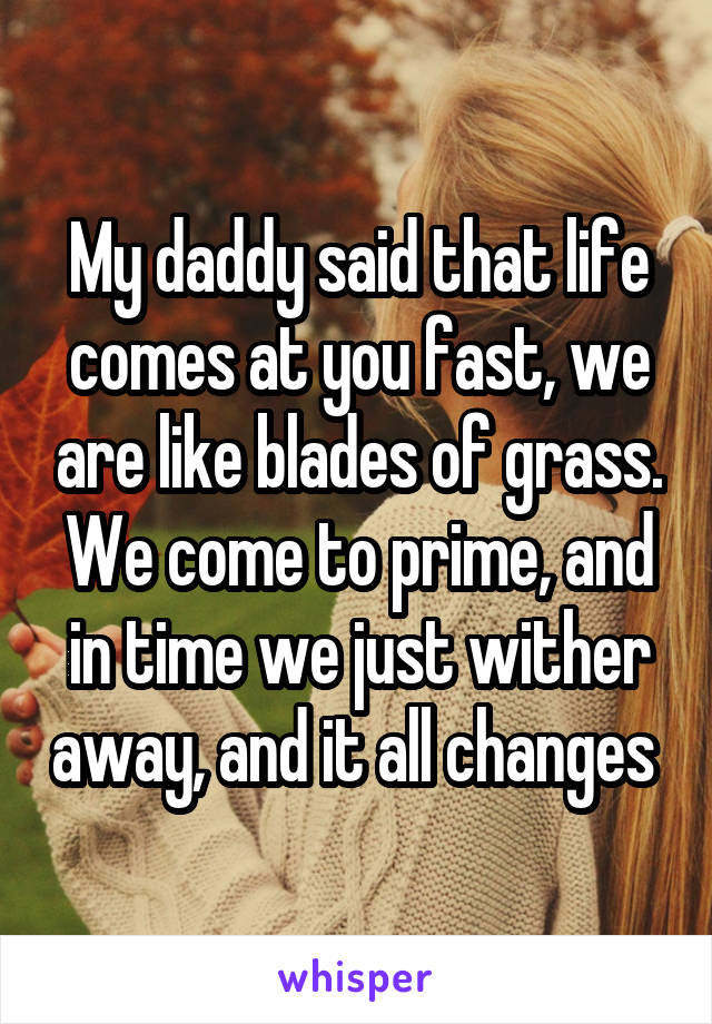 My daddy said that life comes at you fast, we are like blades of grass. We come to prime, and in time we just wither away, and it all changes