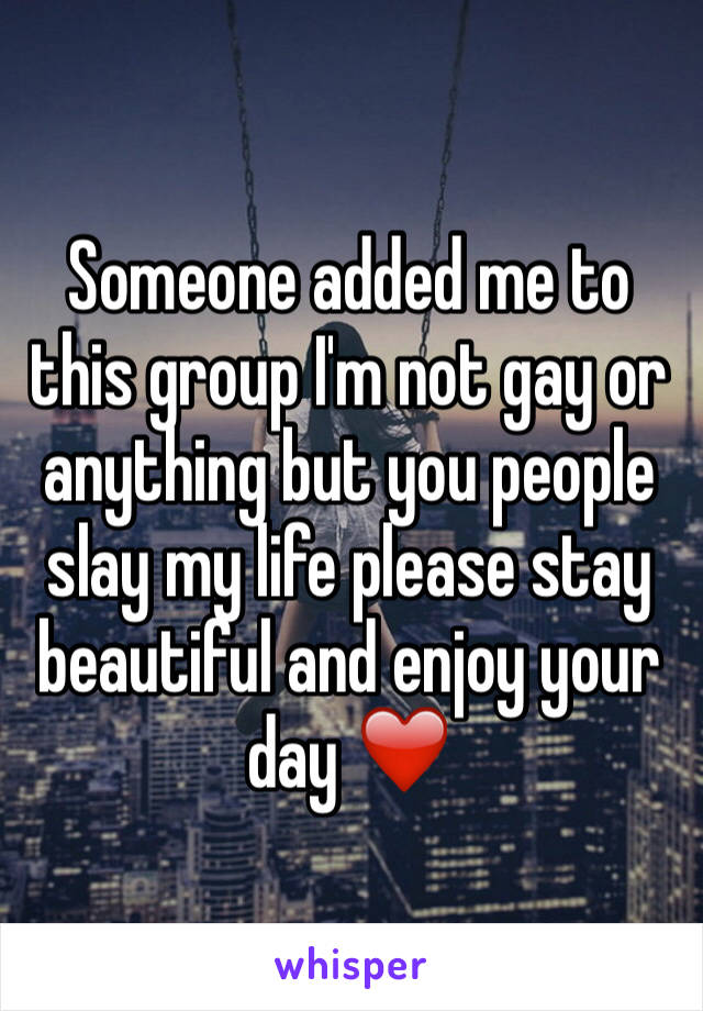 Someone added me to this group I'm not gay or anything but you people slay my life please stay beautiful and enjoy your day ❤️