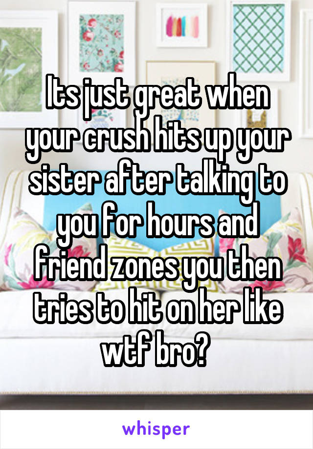 Its just great when your crush hits up your sister after talking to you for hours and friend zones you then tries to hit on her like wtf bro?
