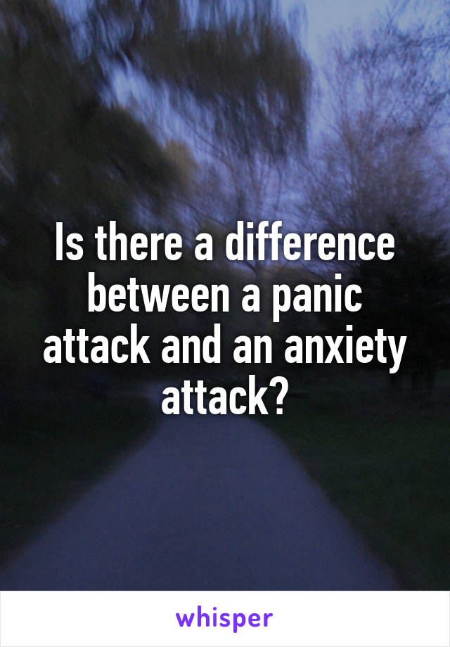 Is there a difference between a panic attack and an anxiety attack?
