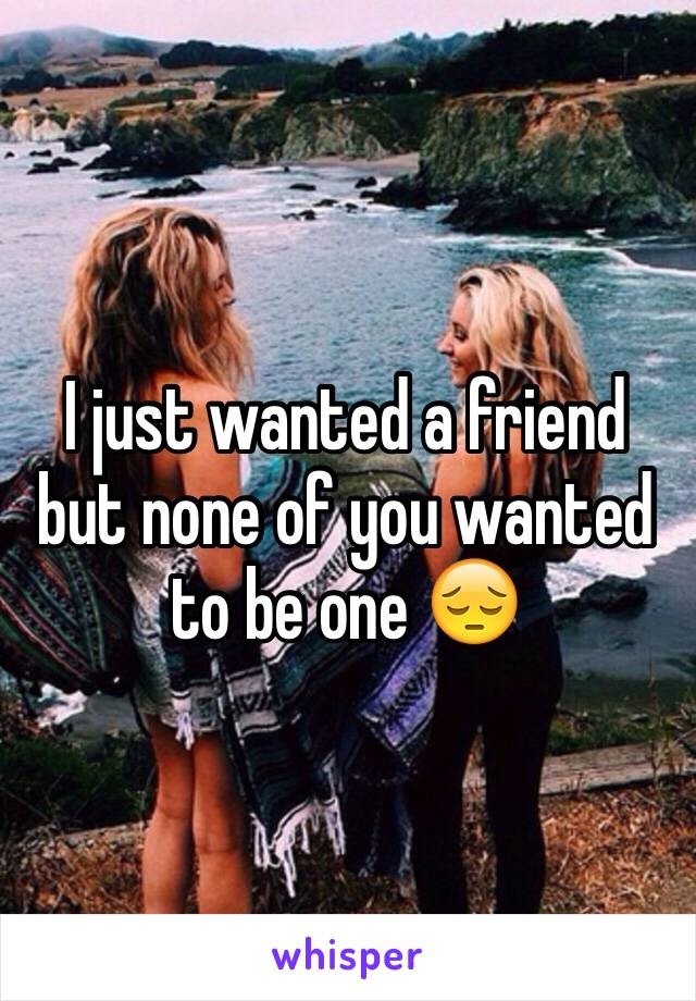 I just wanted a friend but none of you wanted to be one 😔