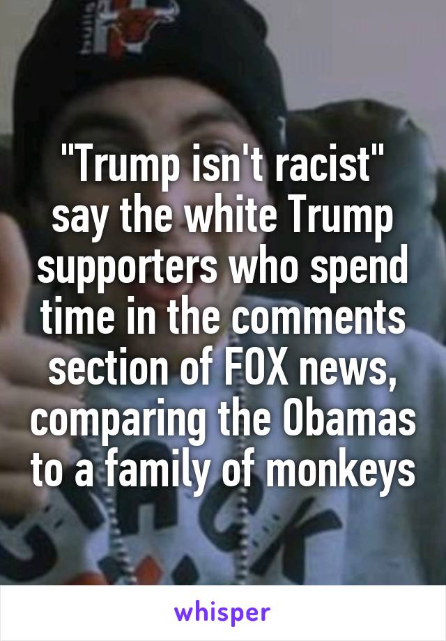 """""""Trump isn't racist"""" say the white Trump supporters who spend time in the comments section of FOX news, comparing the Obamas to a family of monkeys"""