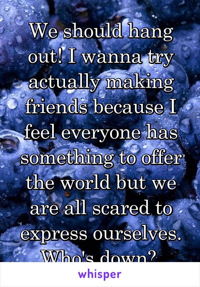 We should hang out! I wanna try actually making friends because I feel everyone has something to offer the world but we are all scared to express ourselves. Who's down?