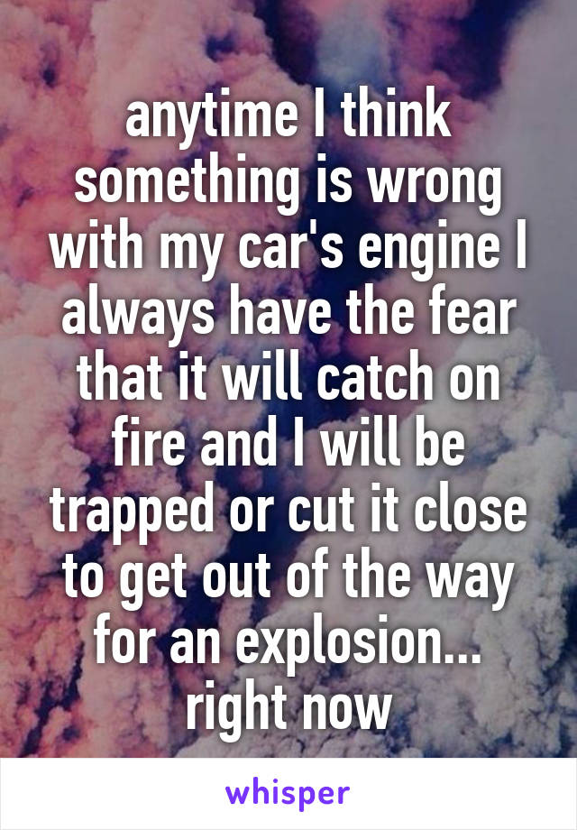 anytime I think something is wrong with my car's engine I always have the fear that it will catch on fire and I will be trapped or cut it close to get out of the way for an explosion... right now