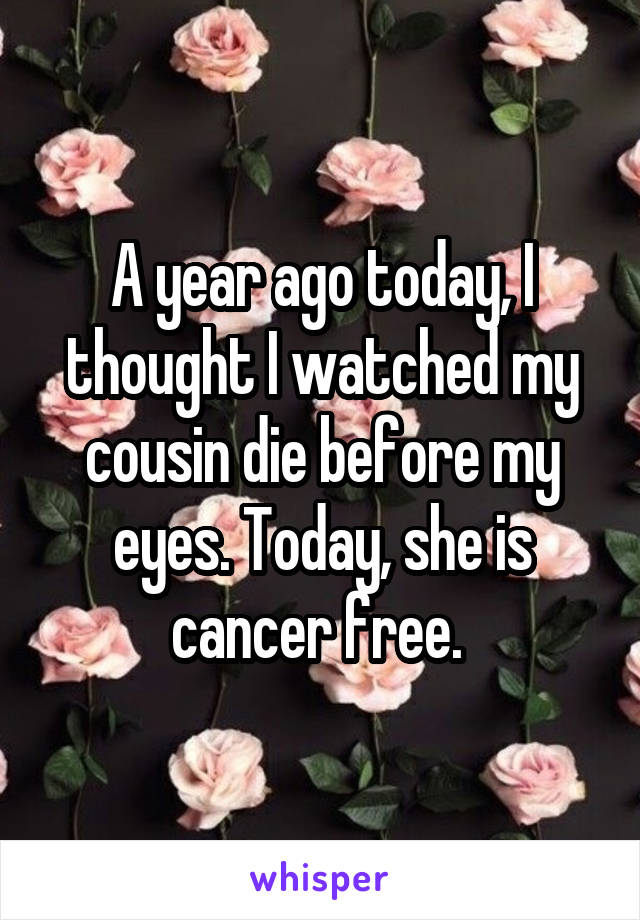 A year ago today, I thought I watched my cousin die before my eyes. Today, she is cancer free.