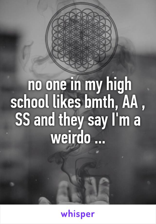 no one in my high school likes bmth, AA , SS and they say I'm a weirdo ...