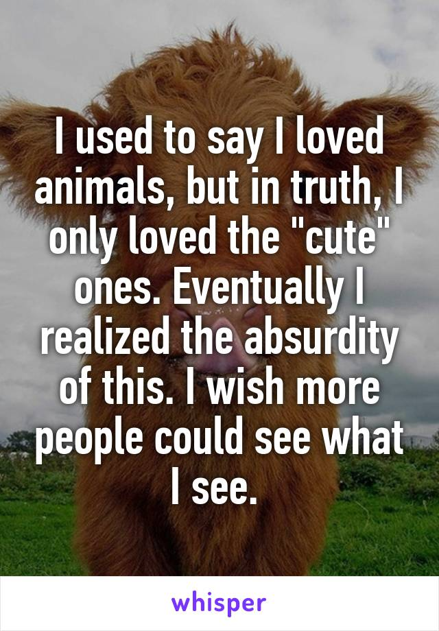 "I used to say I loved animals, but in truth, I only loved the ""cute"" ones. Eventually I realized the absurdity of this. I wish more people could see what I see."