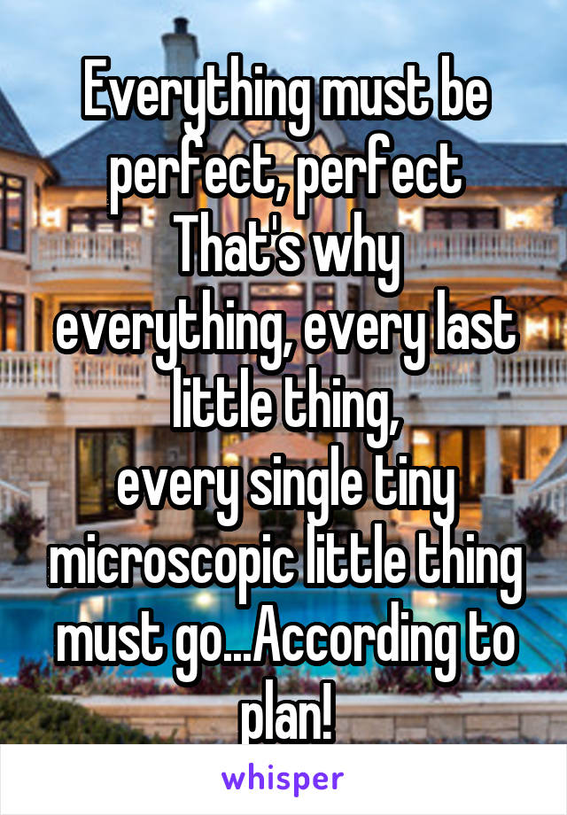 Everything must be perfect, perfect That's why everything, every last little thing, every single tiny microscopic little thing must go...According to plan!