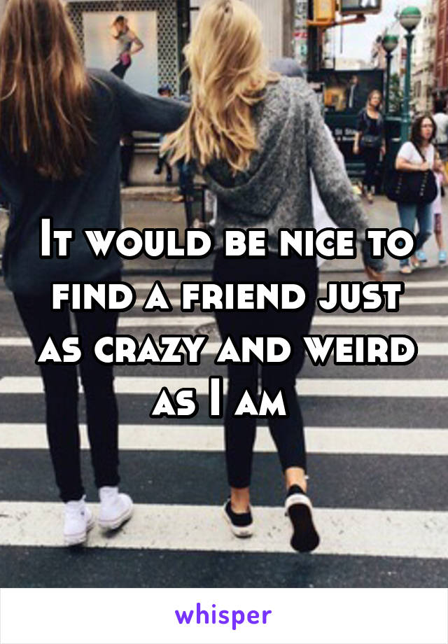It would be nice to find a friend just as crazy and weird as I am