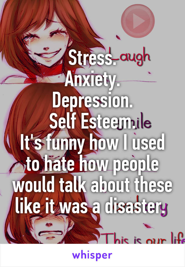 Stress. Anxiety. Depression. Self Esteem. It's funny how I used to hate how people would talk about these like it was a disaster.