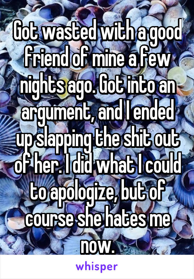 Got wasted with a good friend of mine a few nights ago. Got into an argument, and I ended up slapping the shit out of her. I did what I could to apologize, but of course she hates me now.
