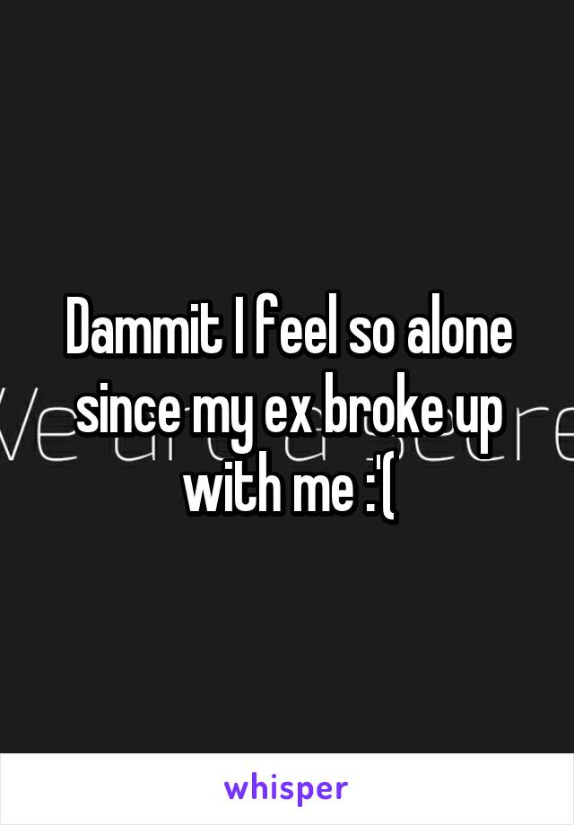 Dammit I feel so alone since my ex broke up with me :'(