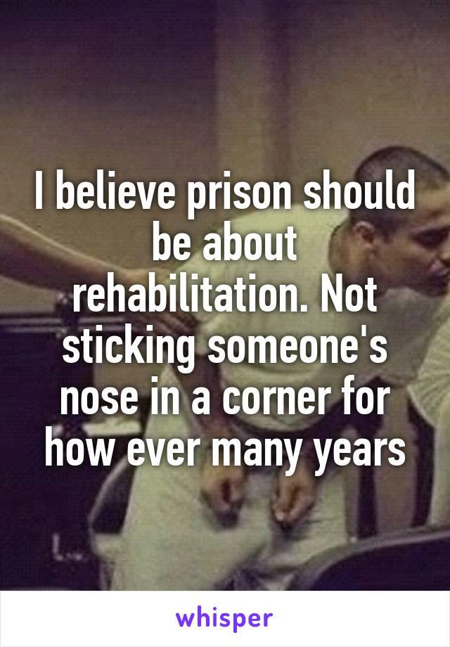 I believe prison should be about rehabilitation. Not sticking someone's nose in a corner for how ever many years