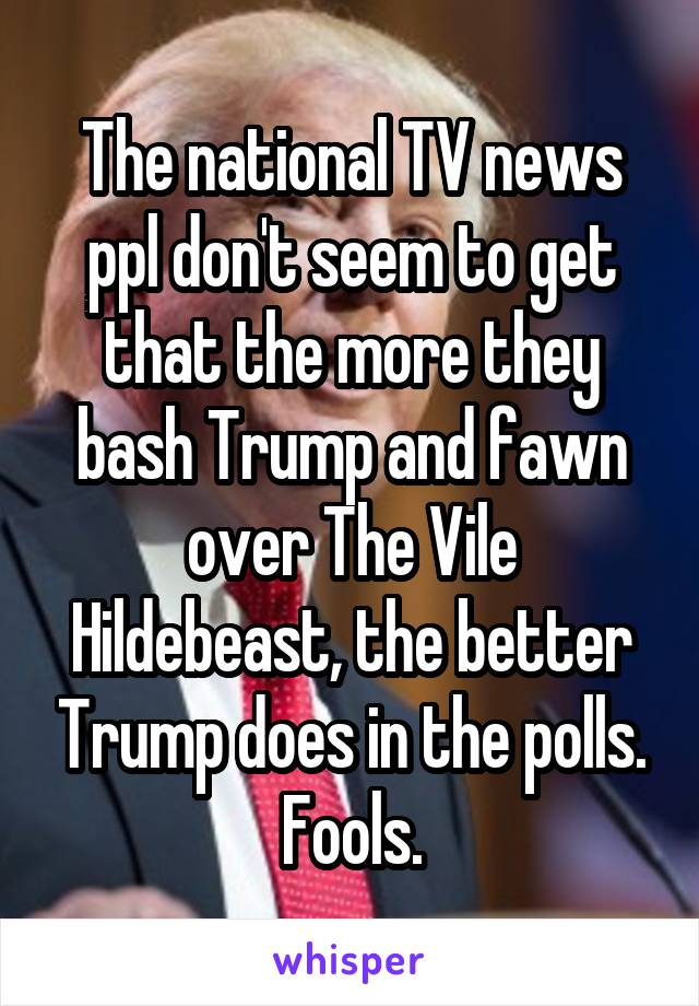 The national TV news ppl don't seem to get that the more they bash Trump and fawn over The Vile Hildebeast, the better Trump does in the polls. Fools.