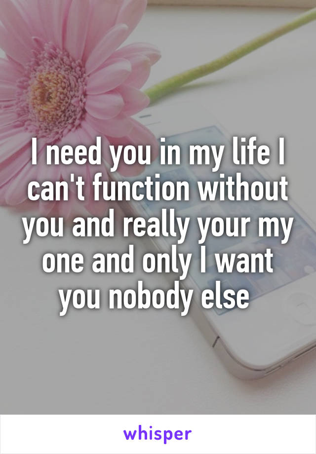 I need you in my life I can't function without you and really your my one and only I want you nobody else