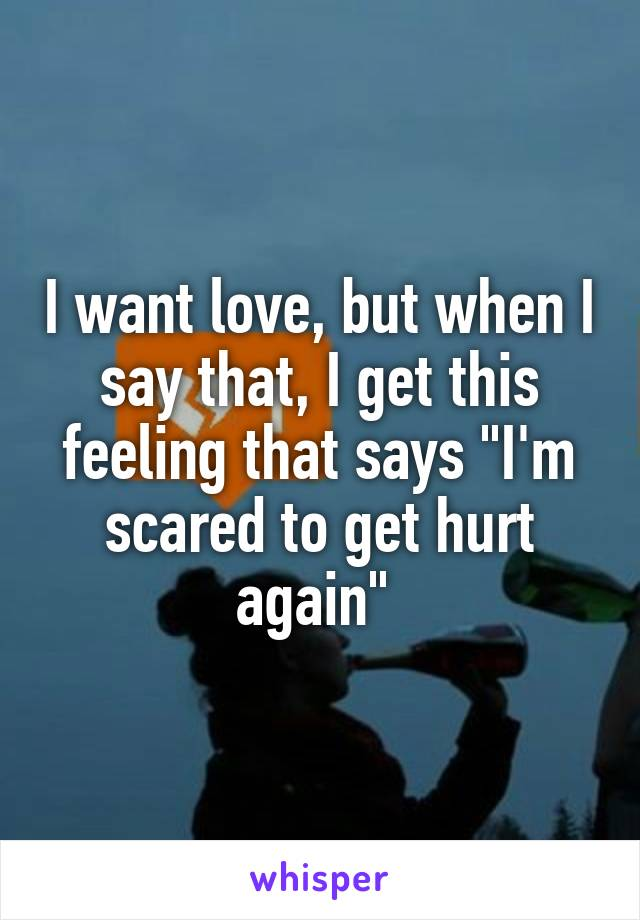 "I want love, but when I say that, I get this feeling that says ""I'm scared to get hurt again"""