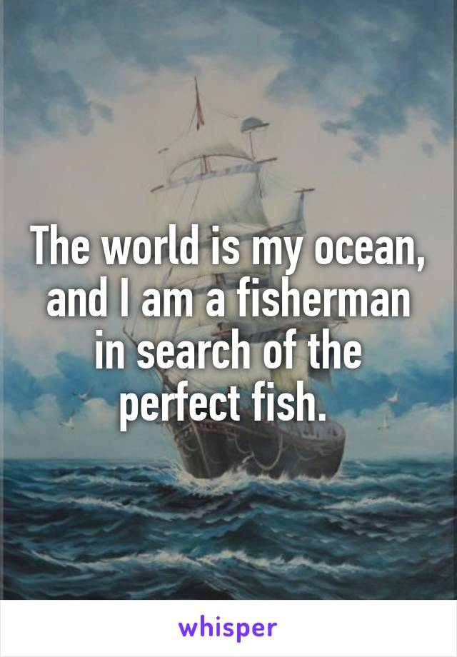 The world is my ocean, and I am a fisherman in search of the perfect fish.