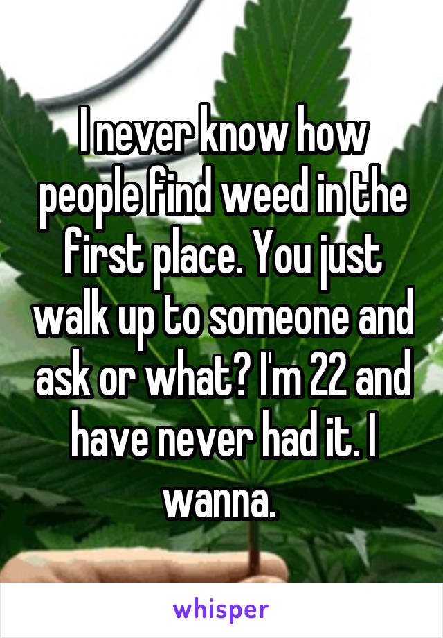 I never know how people find weed in the first place. You just walk up to someone and ask or what? I'm 22 and have never had it. I wanna.