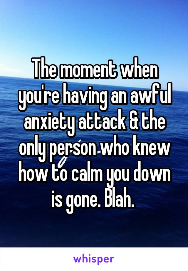 The moment when you're having an awful anxiety attack & the only person who knew how to calm you down is gone. Blah.