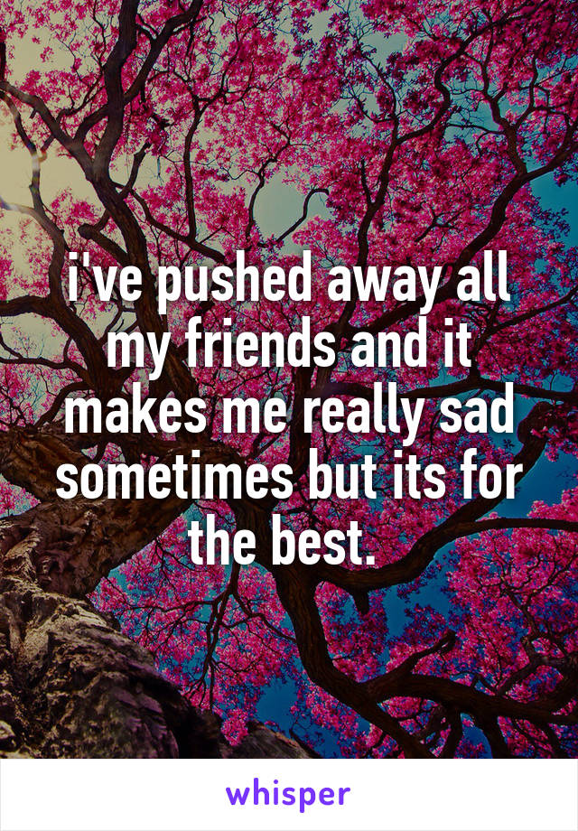 i've pushed away all my friends and it makes me really sad sometimes but its for the best.