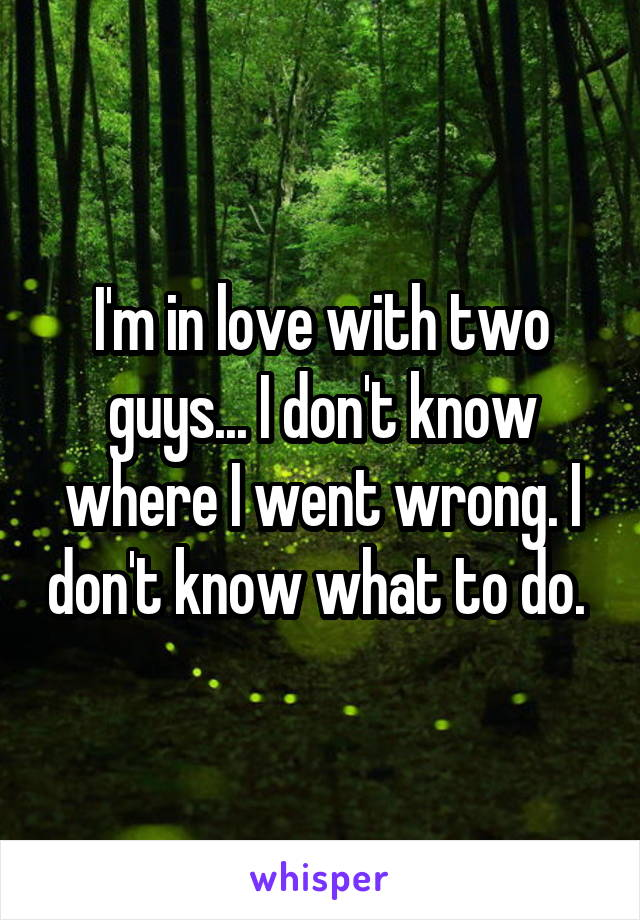 I'm in love with two guys... I don't know where I went wrong. I don't know what to do.