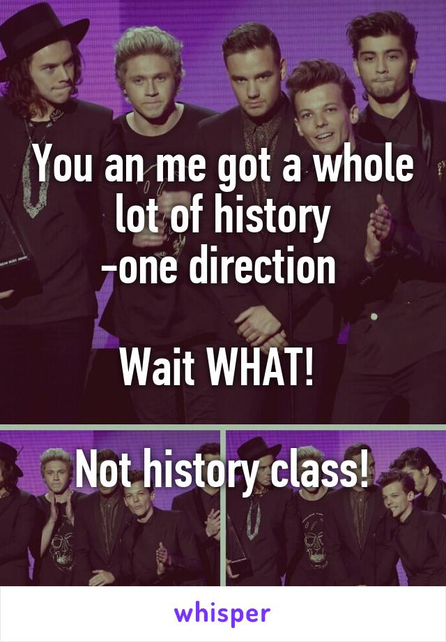 You an me got a whole lot of history -one direction   Wait WHAT!   Not history class!