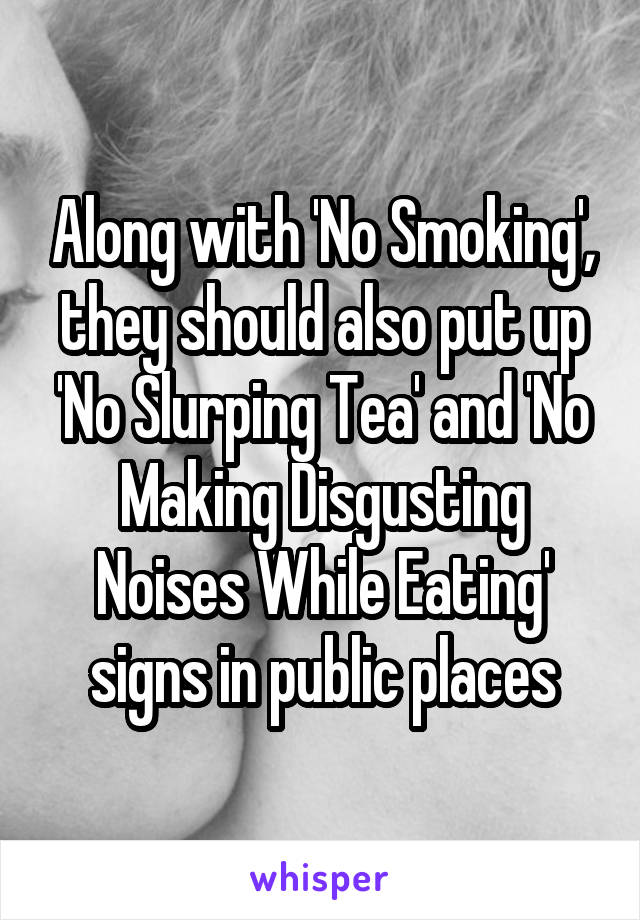 Along with 'No Smoking', they should also put up 'No Slurping Tea' and 'No Making Disgusting Noises While Eating' signs in public places