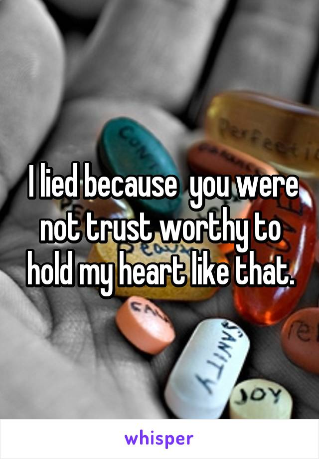 I lied because  you were not trust worthy to hold my heart like that.